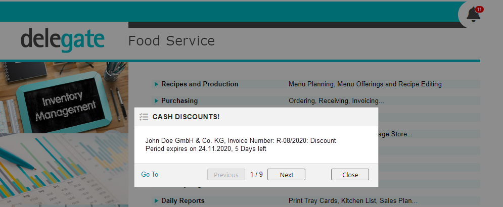 Overview Notification about Invoices with Cash Discounts